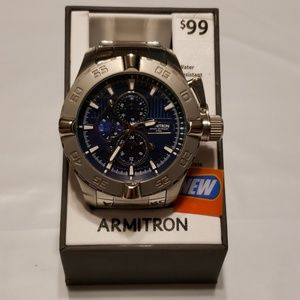 New Mens Armitron Diver Watch Blue and Silver